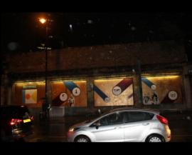 Impressive by night - the shoreditch art wall