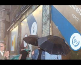 It rained at the shoreditch art wall