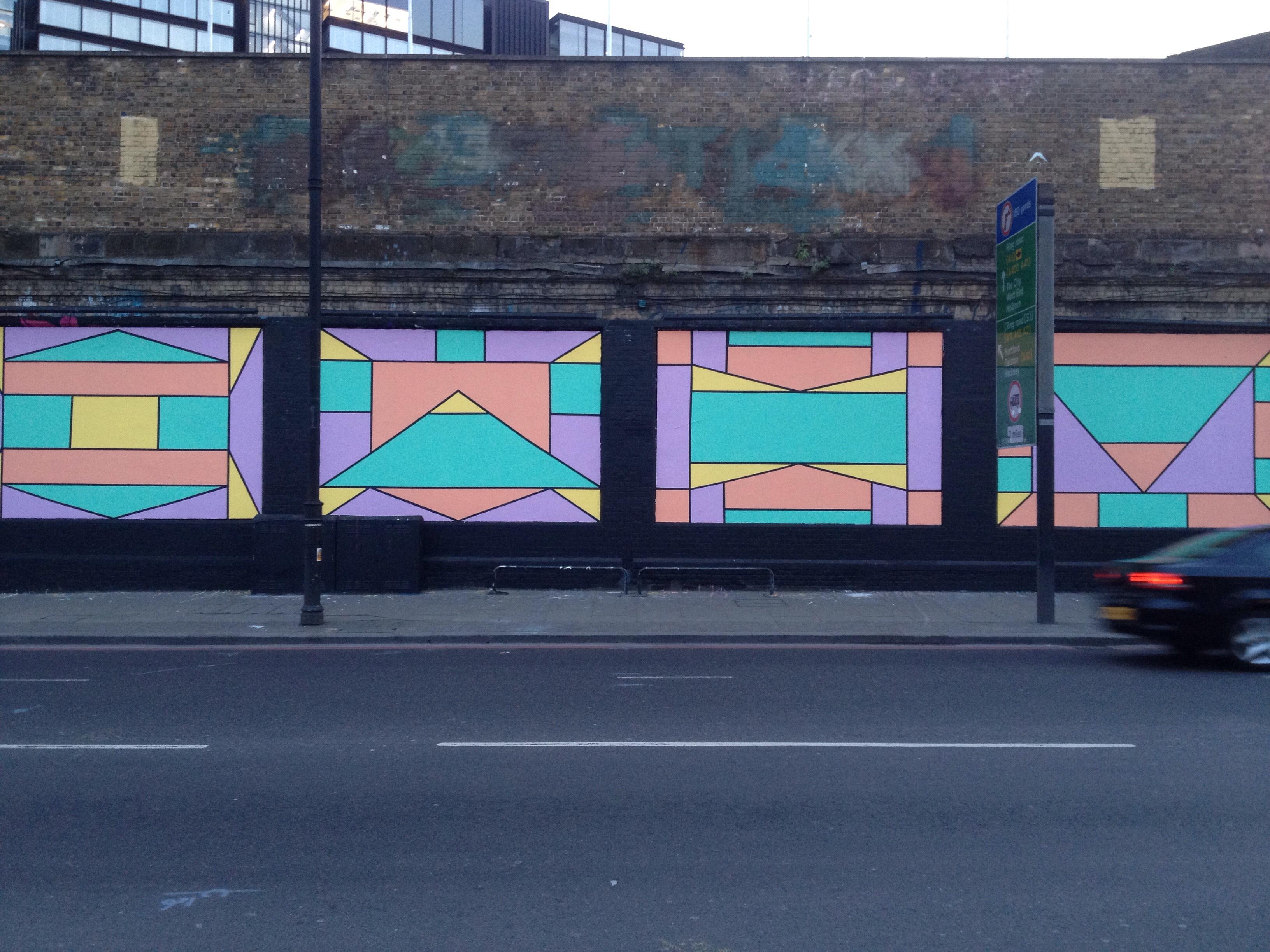 Caroline Derveaux  on the Shoreditch Art Wall