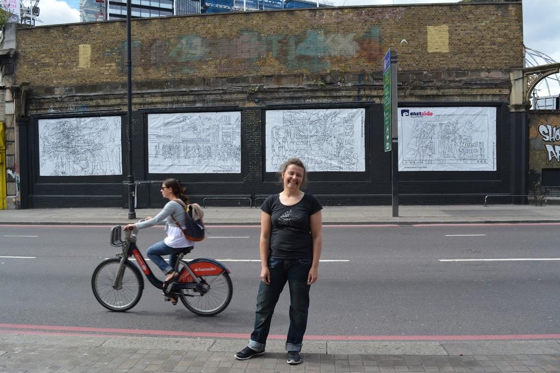 Georgina-talfana INFRONT OF HER NEW WORK on the Shoreditch Art Wall