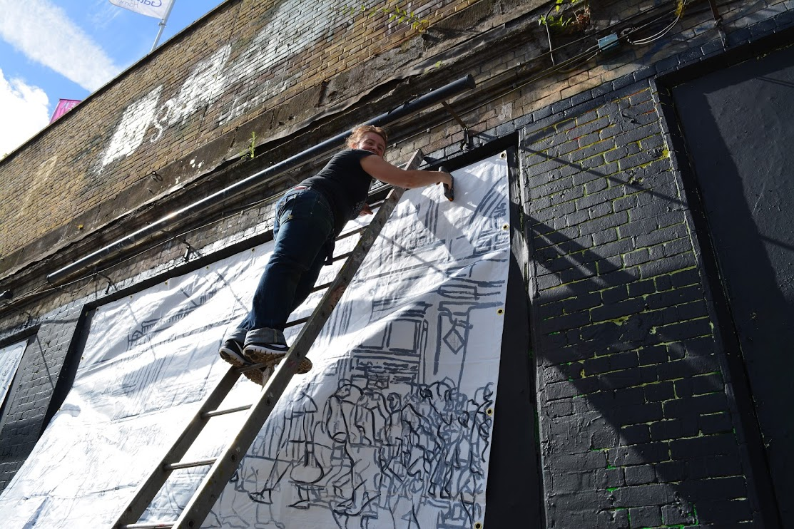 Georgina-talfana Up THE LADDER on the Shoreditch Art Wall