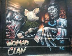 Nomad Clan Behind the Curtain at the Shoreditch Art Wall Week 4
