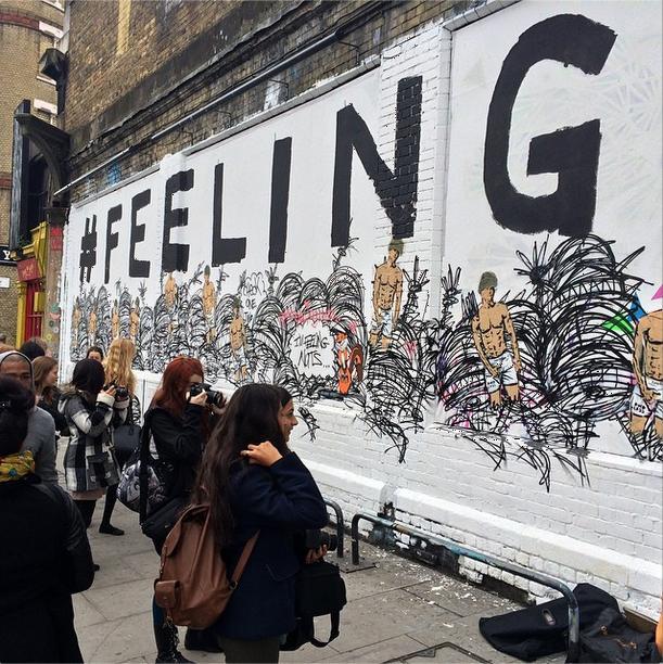 #feelinngnuts at the Shoreditch Art Wall