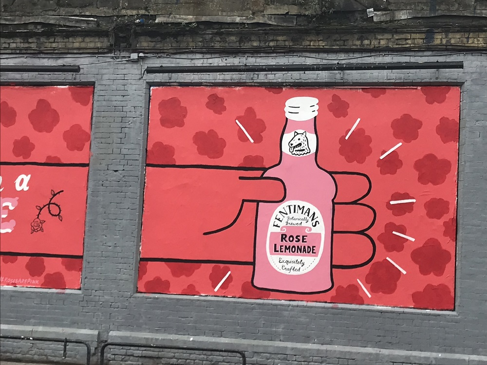 #RosesArePink for Fentimans by Paul Bower on the Shoreditch Art Wall