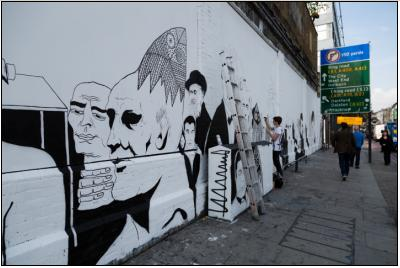 Benjamin Murphy, PANG and 616 paint for International Day of Peace at the Shoreditch Art Wall