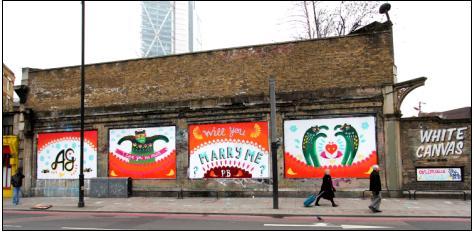 Shoreditch Art Wall  Marriage Proposal