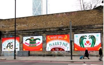 Marriage Proposal at the   london Art Wall